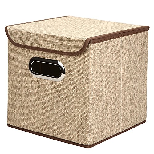 Linen Fabric Foldable Storage Cubes Bin Box Containers Drawers with Lip, 9.85x9.85x9.85 Inch by Wisdom Forest (Khaki)