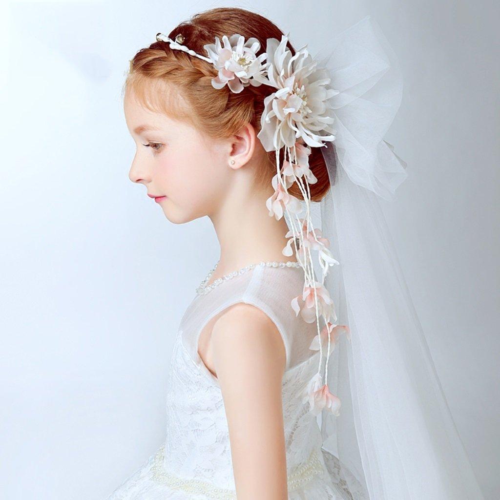 Wreath Child Flower, Headband Flower Garland Handmade Wedding Bride Party Ribbon Headband Wristband Hairband (Color : Multi-Colored)
