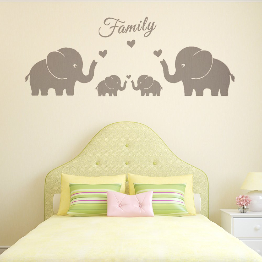 Amazon.com: MAFENT 4 Cute Elephants Family Wall Decals Parents and ...