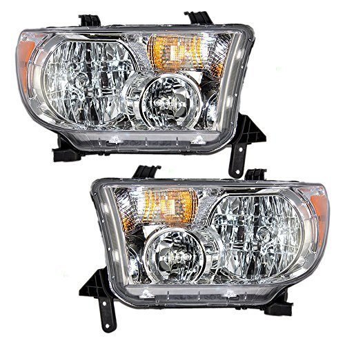 Halogen Headlights Headlamps Driver and Passenger Replacement for Toyota Sequoia Tundra Pickup Truck SUV 811500C051 811100C051 ()