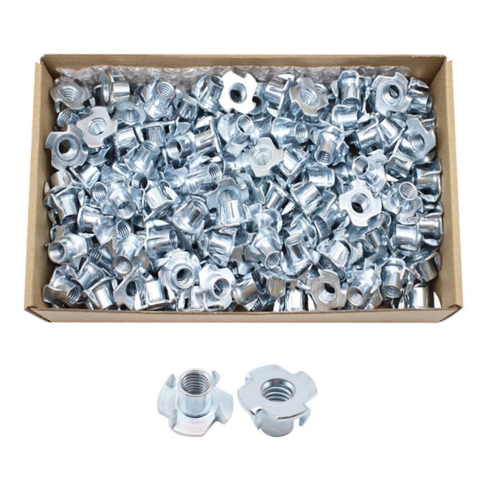 CCTVMTST 200Pcs Zinc Plated 4 Pronged Tee T-Nut for Wood, Cabinetry, Rock Climbing Holds (3/8''-16 x 7/16'')