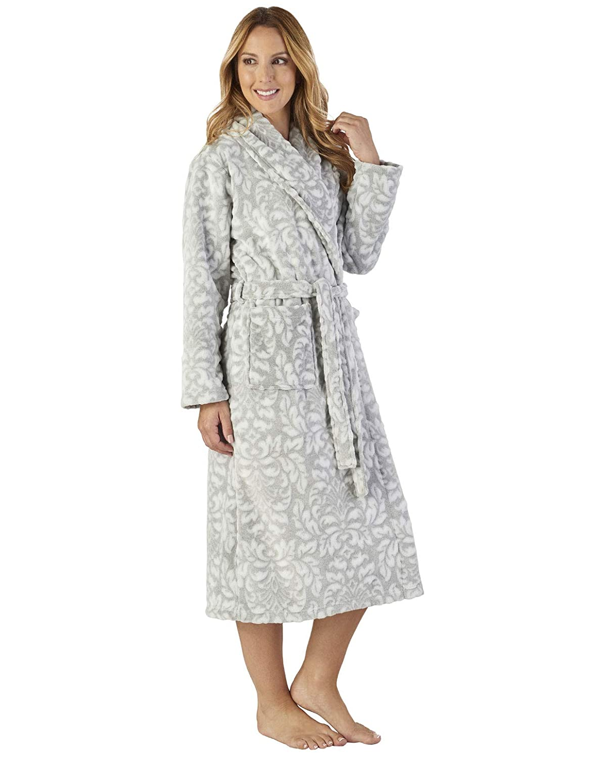 Slenderella HC2351 Women's Luxury Fleece Motif Robe Loungewear Bath Dressing Gown