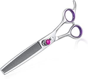 Univinlions 7 Inch Dog Grooming Scissors, Curved, Blending, Thinning, Trimming Shears for Professional, Beginner or Home Groomer, Premium-Grade Japanese 440C Stainless Steel