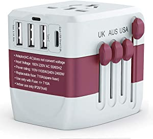 Universal Travel Adapter 2400W, High Power Travel Plug, International Power Adapter, Travel Plug Adapter for High Power Appliances, International Travel Accessories for EU UK US AUS 200+ Countries