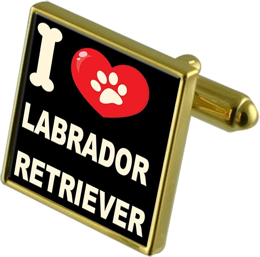 Labrador Retriever Select Gifts I Love My Dog Gold-Tone Cufflinks /& Money Clip