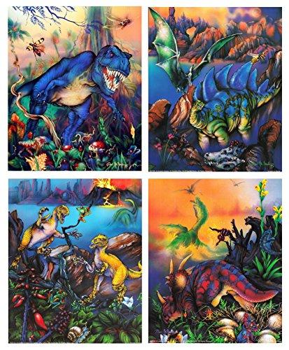 Impact Posters Gallery T Rex Dinosaurs Triceratops Stegosaurus Kids Room Animal Four Set 16x20 Wall Decor Art Print Poster