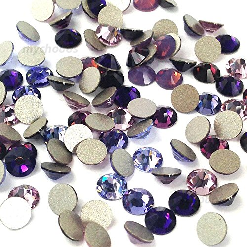 Flat Back Crystal Purple Velvet (Swarovski 2058 SS20 (4.7mm) crystal flatbacks No-Hotfix rhinestones PURPLE Colors Mix)