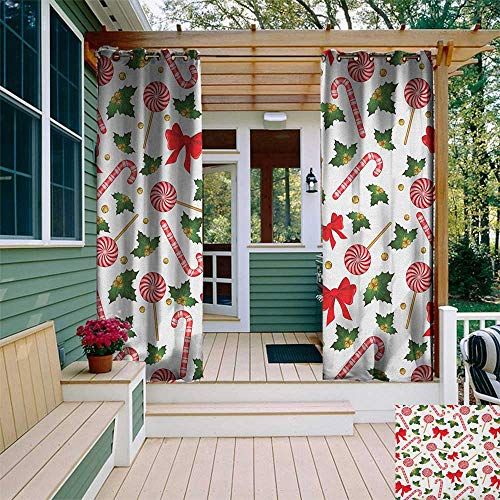 - leinuoyi Candy Cane, Outdoor Curtain of Lights, Holly Berry Mistletoe Traditional Red and White Patterned Sugary Food on Sticks, Outdoor Curtain Panels for Patio Waterproof W84 x L96 Inch Multicolor