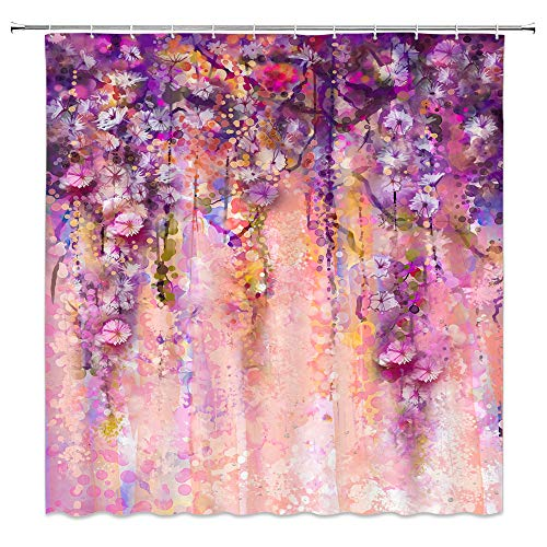 (AMNYSF Watercolor Floral Shower Curtain Abstract Flower Herbs Vines Spring Scenic Colorful Wild Flowers Decor Purple Fabric Bathroom Curtains,Waterproof Polyester with Hooks 70x70 Inches)