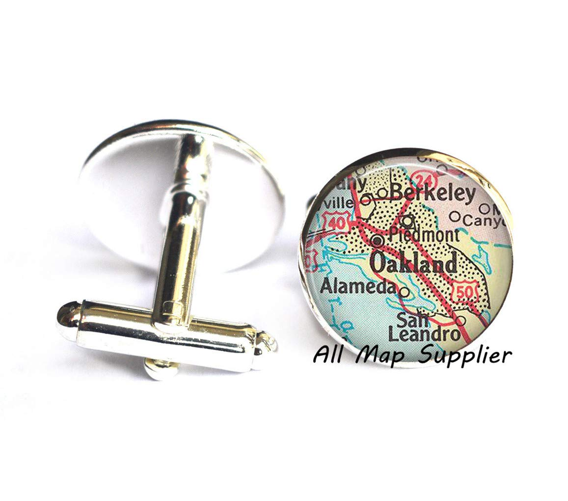 Charming Cufflinks,Oakland,California map Cuff Links,Oakland map Cufflinks,Oakland Cuff Links,Oakland Cufflinks,map Jewelry,A0136