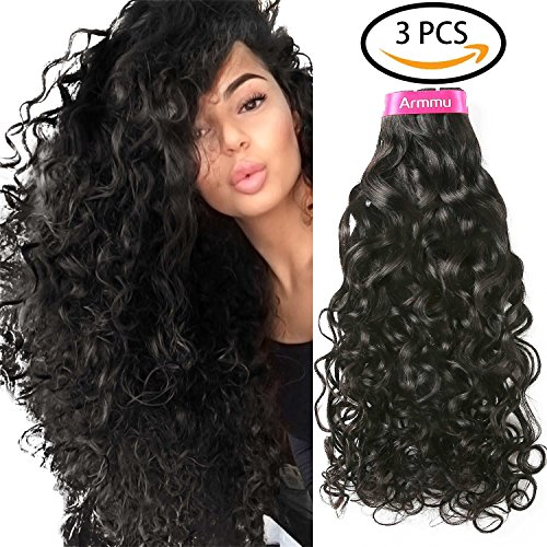 Armmu 9A Brazilian Virgin Hair 3 Bundles 100% Unprocessed Water Wave Remy Human Hair Extensions Hair weft Natural Color 300g with Free Gift(16