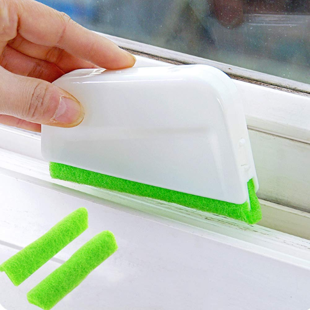Infgreate Perfect Cleaning Tool Window Frame Door Groove Kitchen Cleaning Brush Cleaner with 2 Replace Cloths