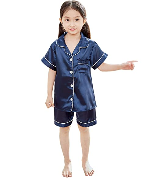 Amazon.com: Pijama de satén para niños, conjunto de pijamas ...
