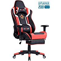 Ficmax High-Back Large Size Executive Chair PC Computer Desk Chair Ergonomic Gaming Chair Racing Style Office Chair with Lumbar Massage Support and Footrest