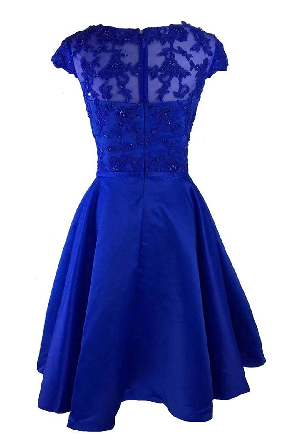 eb3d14da7b2 Amazon.com  Fanhao Women s Bateau Neck Lace Beading Pockets Short Evening  Gown Dress