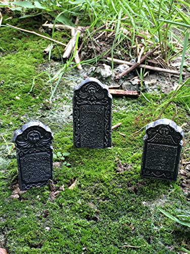 Fiddlehead Fairy Garden Miniature Halloween Tombstone Accessory Set (Set of 3) #17003 - Tombstone Set