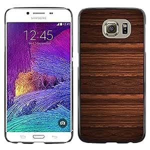 TopCaseStore / la caja del caucho duro de la cubierta de protección de la piel - Wallpaper Design Wood Imitation Brown - Samsung Galaxy S6 SM-G920