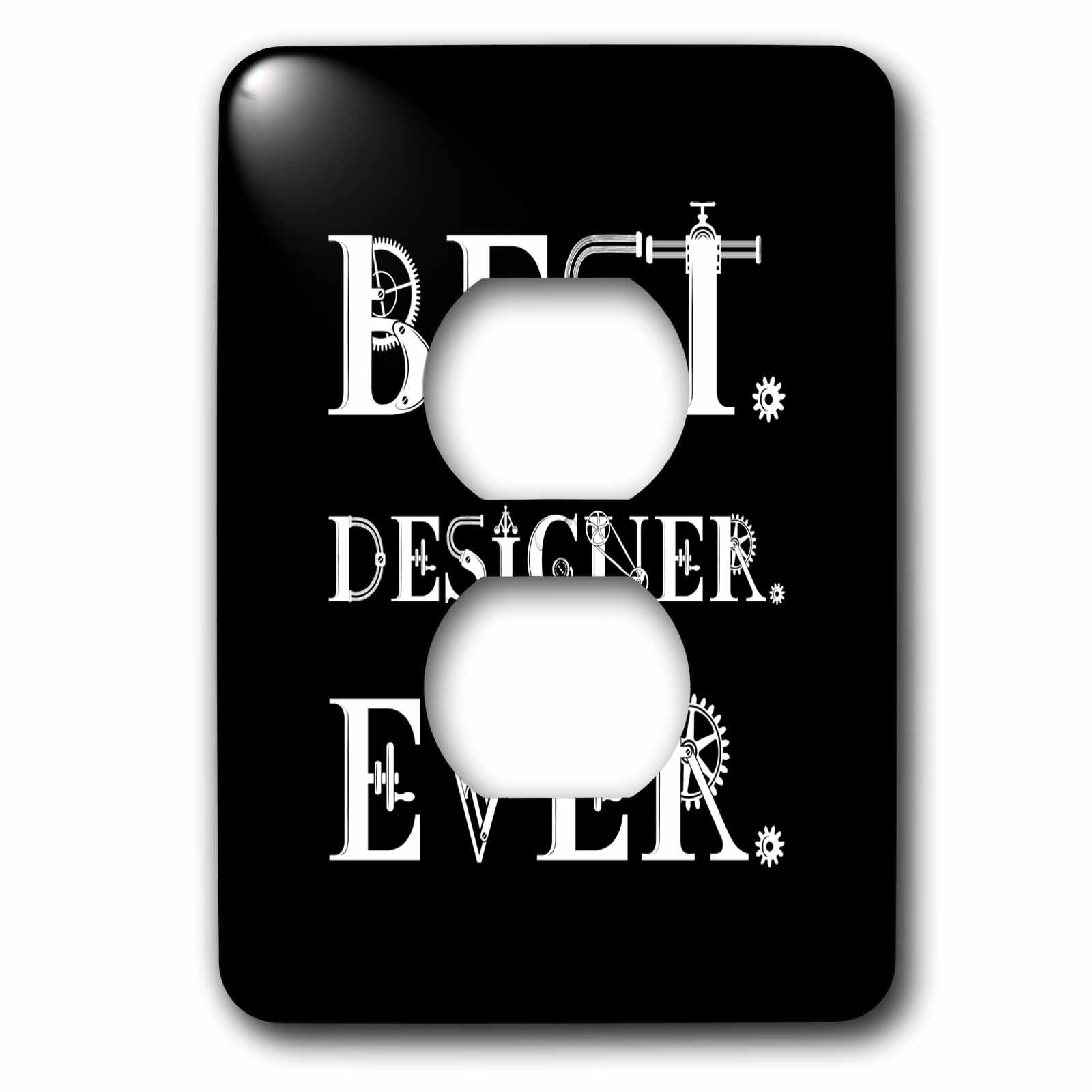 3dRose Alexis Design - Best Professional Ever - Best. Designer. Ever. decorative text on background black - Light Switch Covers - 2 plug outlet cover (lsp_286098_6)