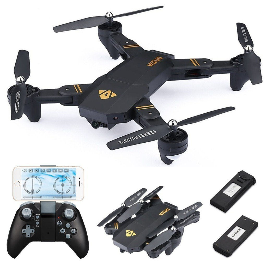 Virhuck VISUO XS809W Drone with Camera Live Video, WiFi FPV Quadcopter with 120° Wide-Angle 720P HD Camera Foldable Drone RTF - Altitude Hold, 3D Flip, APP Control, Gravity Sensor + Bonus Battery