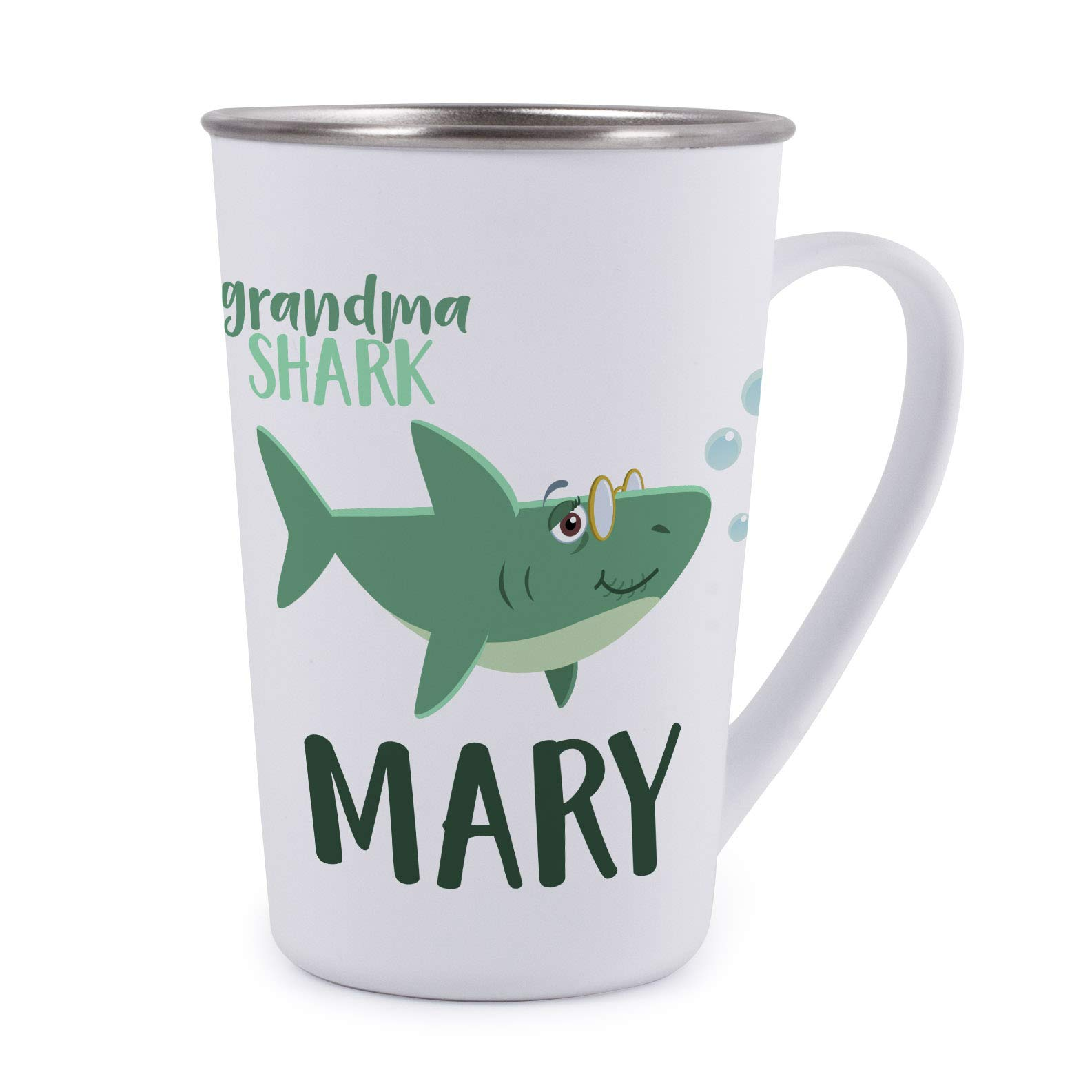 Personalized Gifts Shark Family Coffee Mug - 17oz Stainless Steel Tumbler Coffee Mug -Birthday Gifts, Christmas Gifts, Mother's Day - Baby, Boy, Girl, Mommy, Daddy, Grandma, Grandpa Sharks