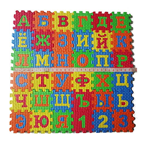 Softmusic 36Pcs/Set Russian Alphabet Jigsaw Carpet EVA Baby Kids Puzzle Learning Mat Toys and Hobbies (Rug Jigsaw)