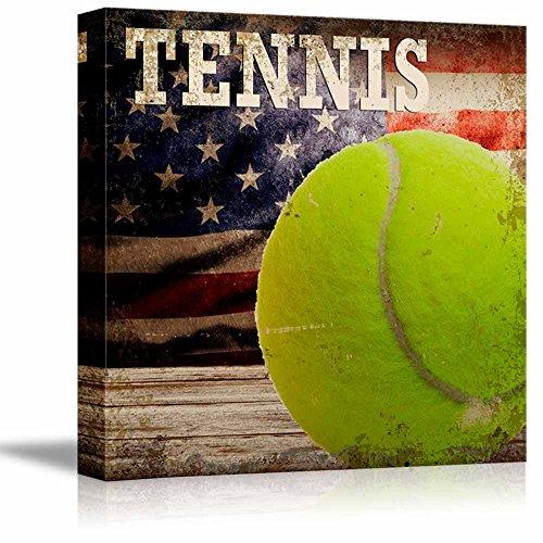 Rustic Tennis Tennis Ball Vintage Wood Grain