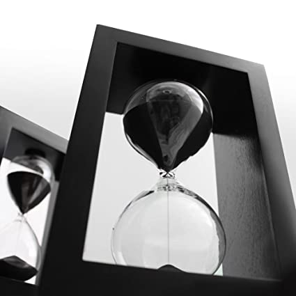 Sand Timer Hourglass Black Set, Time Management System, 60 minute/1 hour &