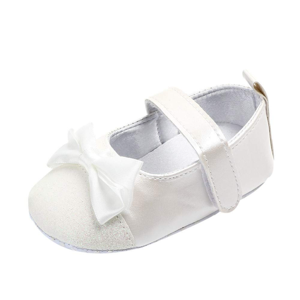 NUWFOR  Newborn Toddler Baby Girls Bowknot Bling First Walkers Soft Sole Shoes(White,0-3Months)