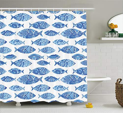 Ambesonne Blue Shower Curtain, Fish Sea Animal with Ottoman Ornate Mosaic Hand Drawn Style Marine Artwork, Cloth Fabric Bathroom Decor Set with Hooks, 70