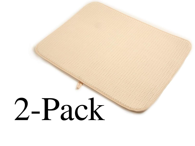 "2 X Norpro 16"" X 18"" Durable Microfiber Dish Drying Mat Cream 359E"