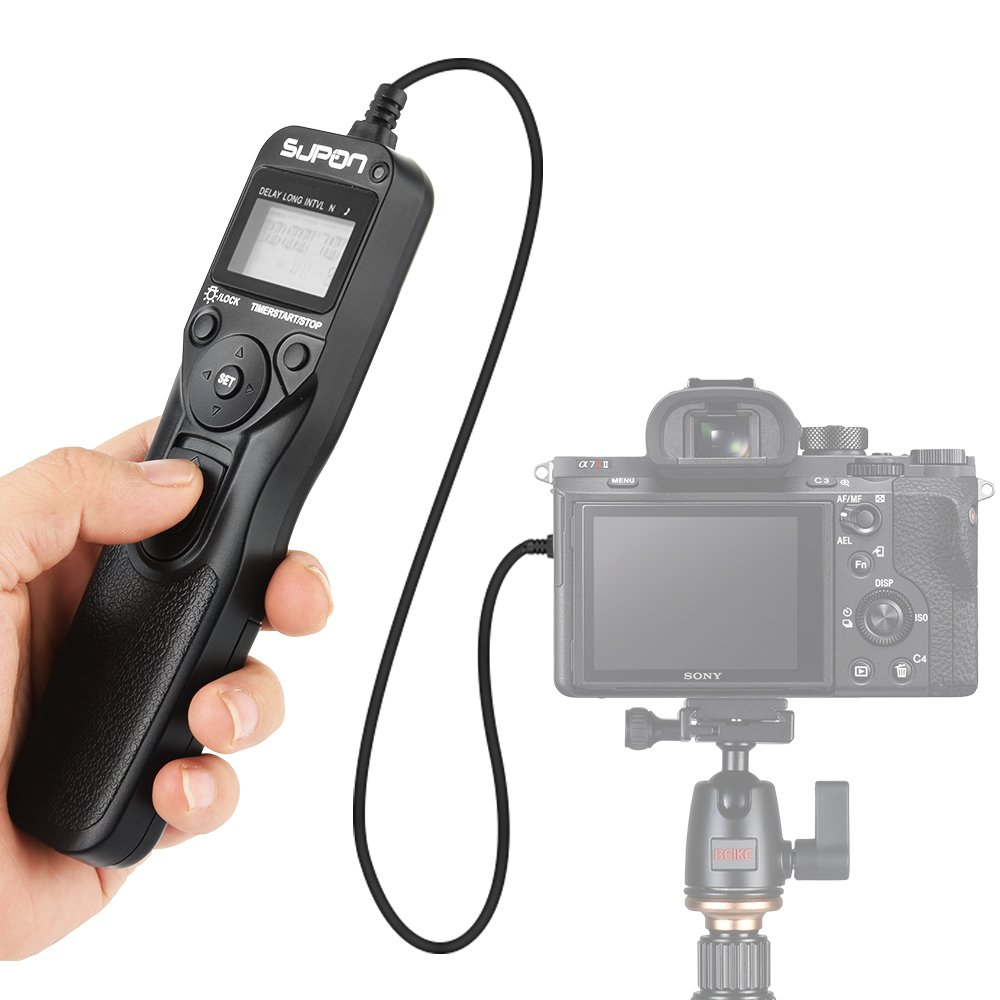 SUPON Replacement RM-VPR1 LCD Timer Shutter Release Cord Compatible for Sony Alpha A7 A7S A7R A3000 A7M2 A7R2 A7II A7III A7RIII A7SIII A5000 A6000 A58 RX100M2 RX100M3 NEX-3N HX50 HX60 HX300 HX400 etc by SUPON