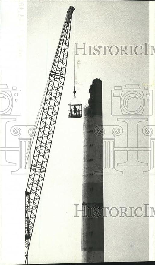 Vintage Photos 1986 prensa fotos soldador reduce chimenea de aluminio empresa de América planta