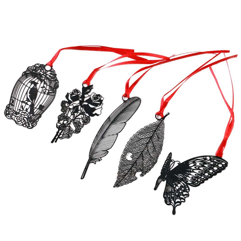 3 Pcs Hollowed-out Black Metal Bookmark Classical Chinese Style Retro Bookmarks Gift, Rose by George Jimmy (Image #1)