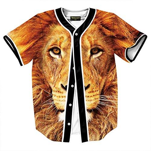 PIZOFF Short Sleeve Arc Bottom 3D Lion Print Man Baseball Jersey Shirt Y1724-81-S