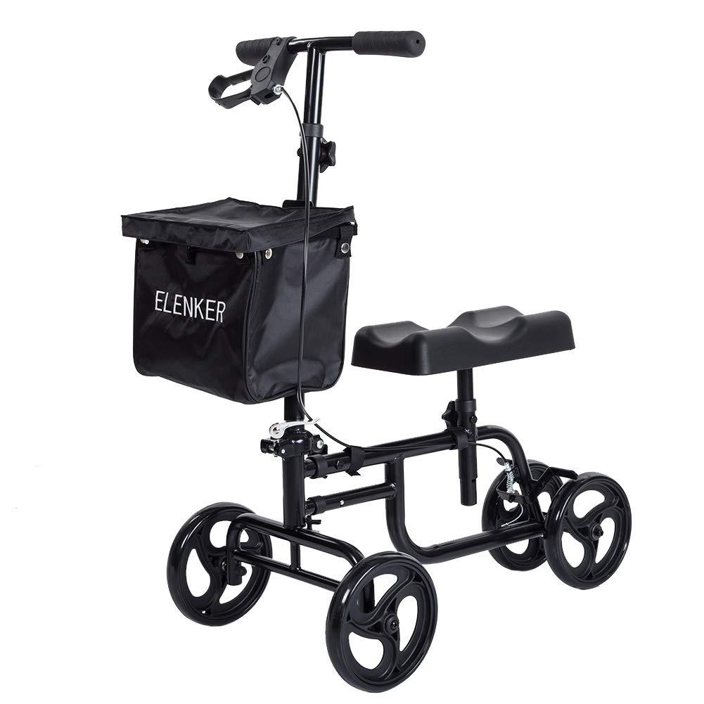 ELENKER Knee Scooter Economy Steerable Knee Walker Ultra Compact & Portable Crutch Alternative
