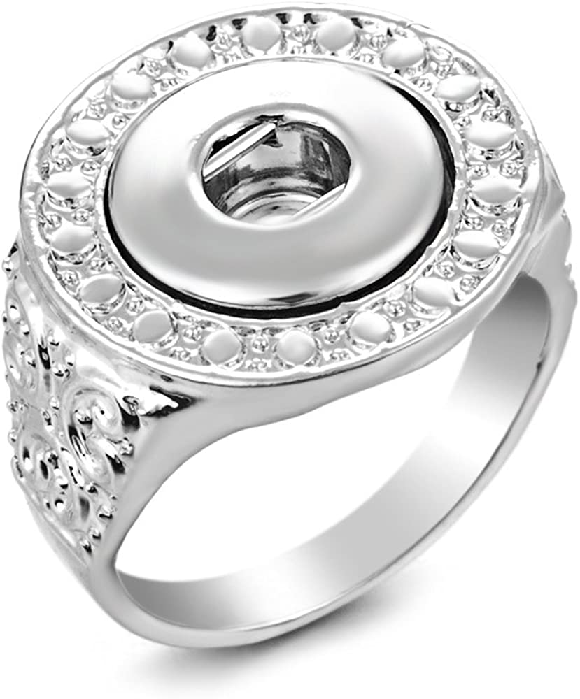 Snap Jewelry Ring  Silver w//small Crystals Size 7 12mm Snaps not included