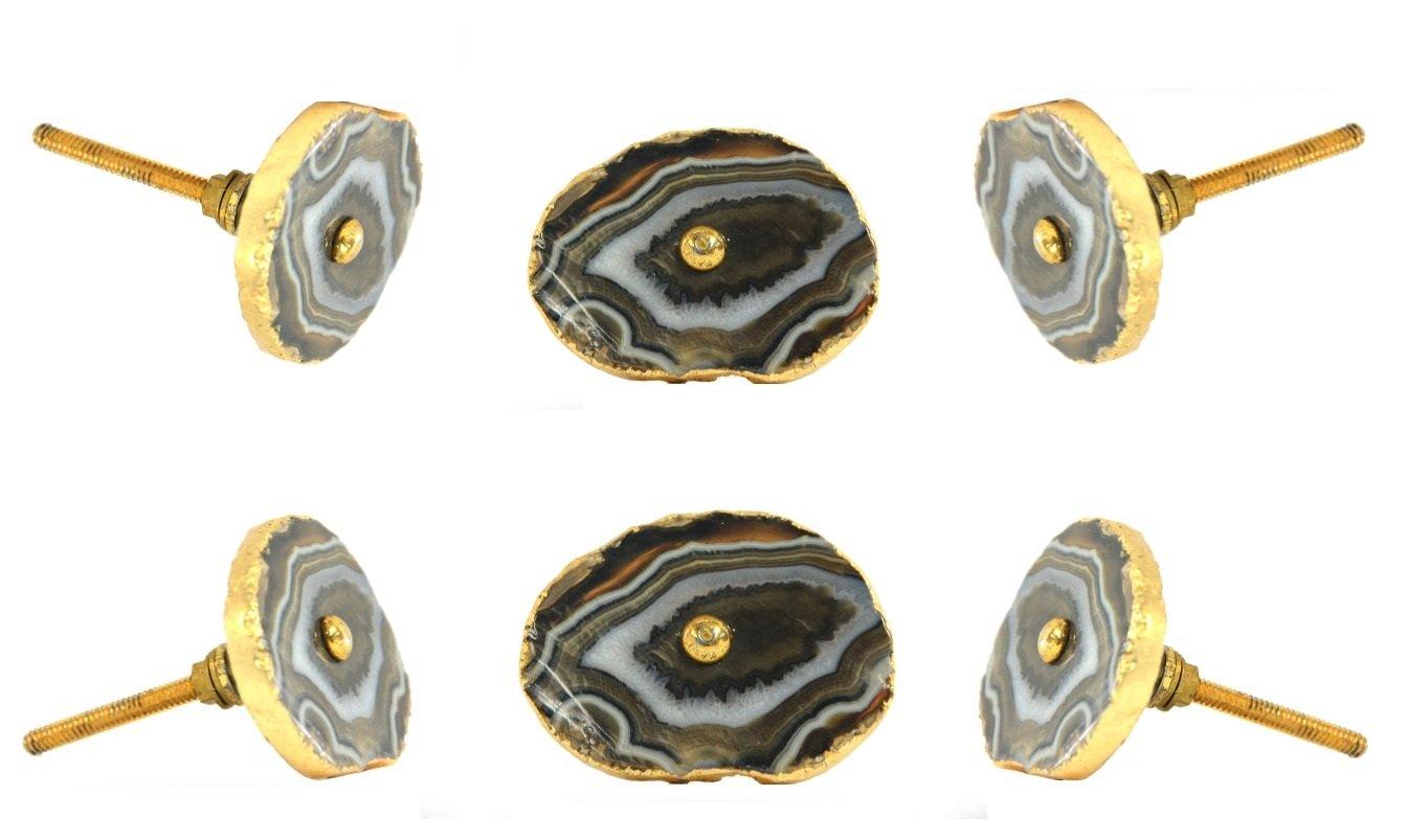 Beautiful Set Of 6 Barbarella Agate With Brass Hardware Brown Drawer Knob Cabinet  Cupboard Pull By Trinca Ferro     Amazon.com