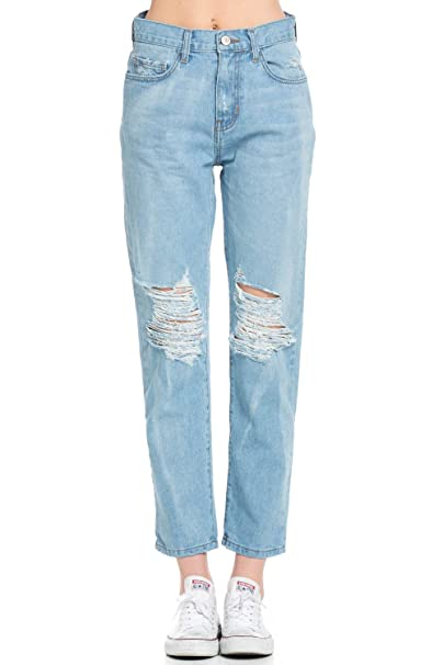fast color great variety models meticulous dyeing processes Women's High Waisted Distressed Mom Jeans Denim Pants Size ...