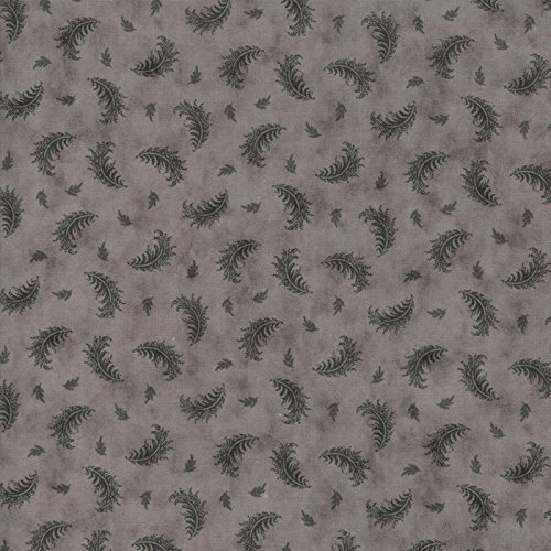 Small Dark Gray Feathers on Light Gray, Quill, 3 Sisters, Moda, by The Yard ()