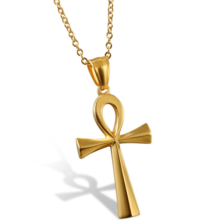 Oidea Muttertagsgeschenke Kreuzanhä nger Edelstahl Kreuz Halskette gold fü r Herren Damen vintage Ä gypten Kreuz Kette 50CM O0100027-DE