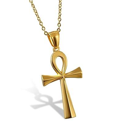 b8c1deb311d2 Oidea Collar Religioso para Hombre Mujer Pareja Ankh Colgante Egipcio  Antiguo con Cruz Joyería de Acero Inoxidable Buena Suerte Bendición  Oración