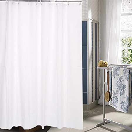 YANZHEN Pure White Plastic Shower Curtain Ring Cut Off Waterproof Mold Mildew 10