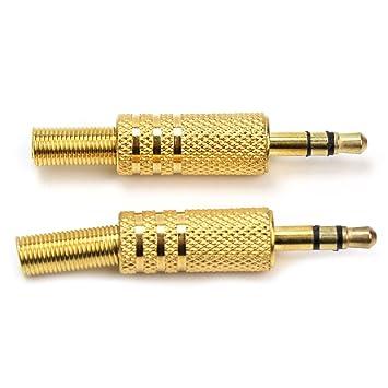 Pinzhi - 2X Conector Estéreo Audio Para Soldar Jack Macho JACK 3 Contactos 3.5mm Plug: Amazon.es: Electrónica