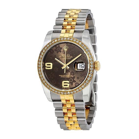 Rolex Datejust Bronce Floral de la mujer Dial reloj m116243 - 0010: Amazon.es: Relojes
