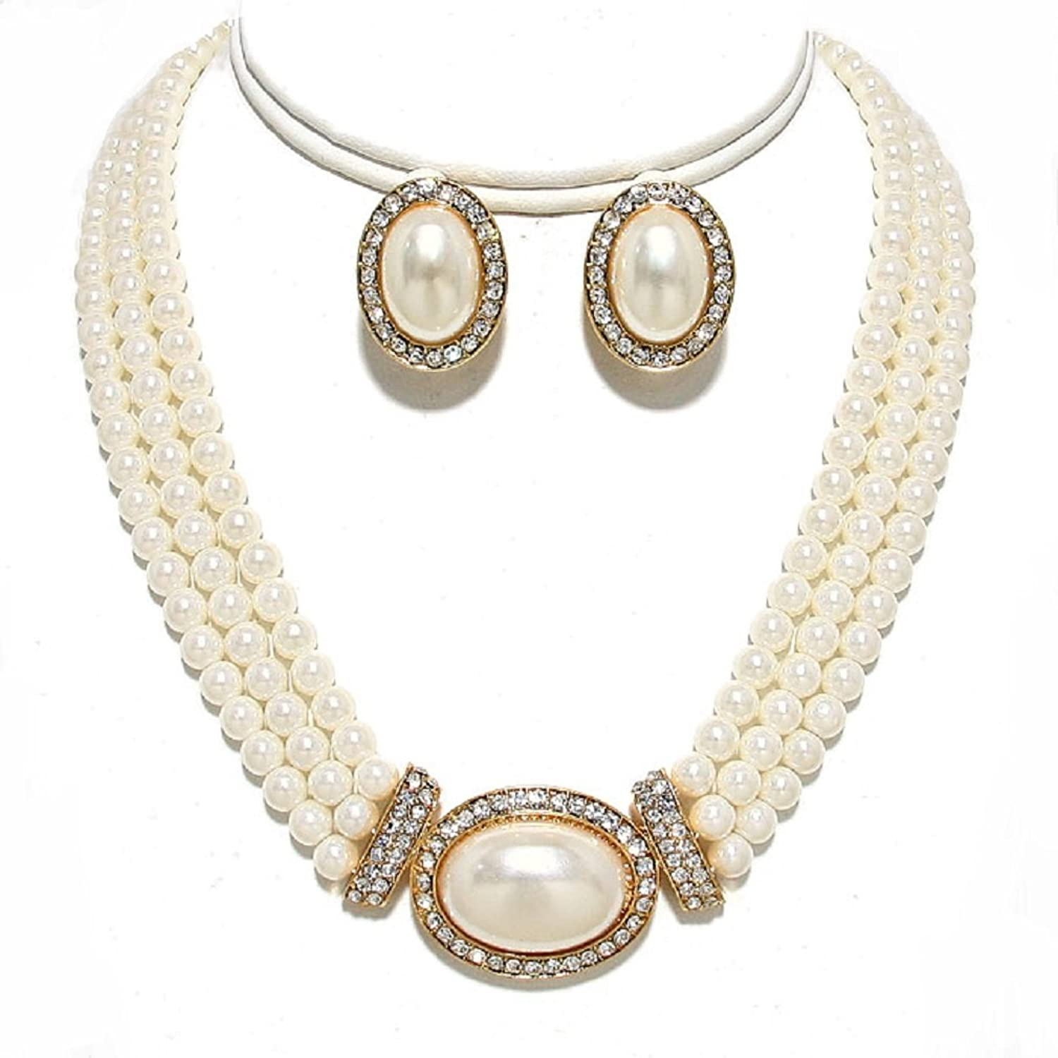 elegant layered simulated pearl necklace earrings