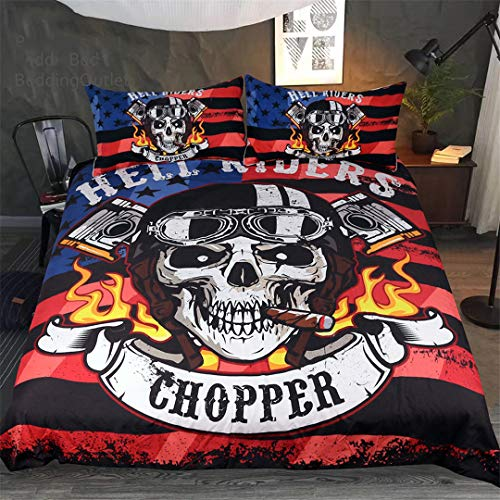 Fire Skull Bedding Set Print Boys Duvet Cover Set Hell Riders Bedclothes Gothic Home Textiles US Full -