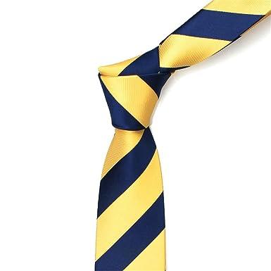 HXCMAN 7cm azul marino con raya amarilla clásico diseño 100% seda ...