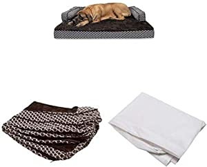 Furhaven Pet Bundle - Jumbo Plus Diamond Brown Orthopedic Plush Faux Fur & Décor Comfy Couch Sofa, Extra Dog Bed Cover, Water-Resistant Mattress Liner for Dogs & Cats