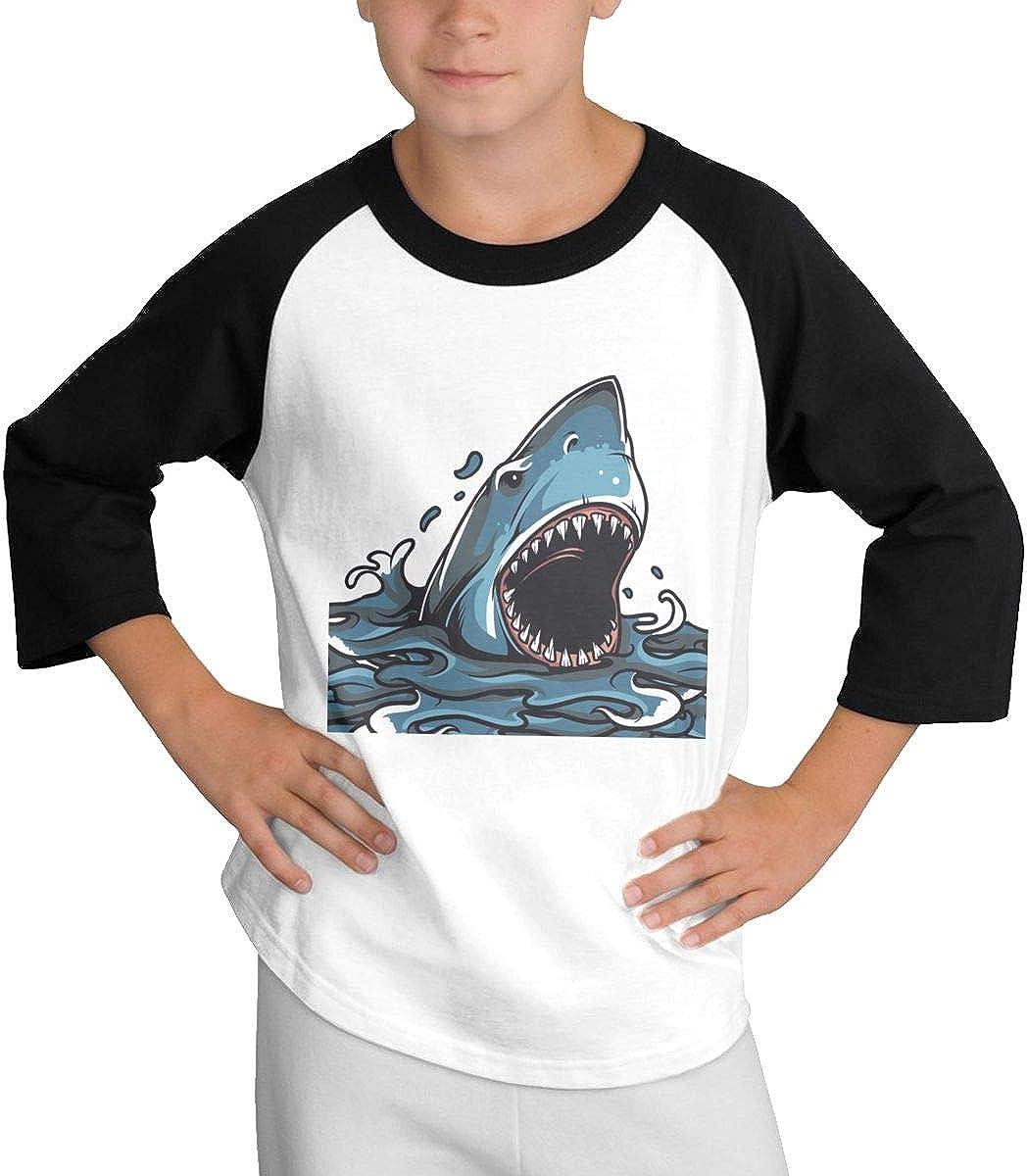 Angry Shark 7 Raglan 3//4 Short-Sleeve T-Shirts Youth Girls Boys