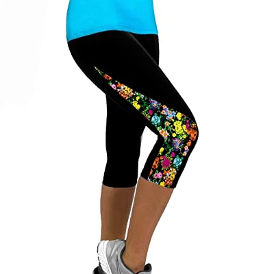ABASSKY Floral Printed Sports Yoga Fitness Leggings Gym 3/4 Slim Pant Trousers Side Triangle Mosaic Sports Yoga Pants